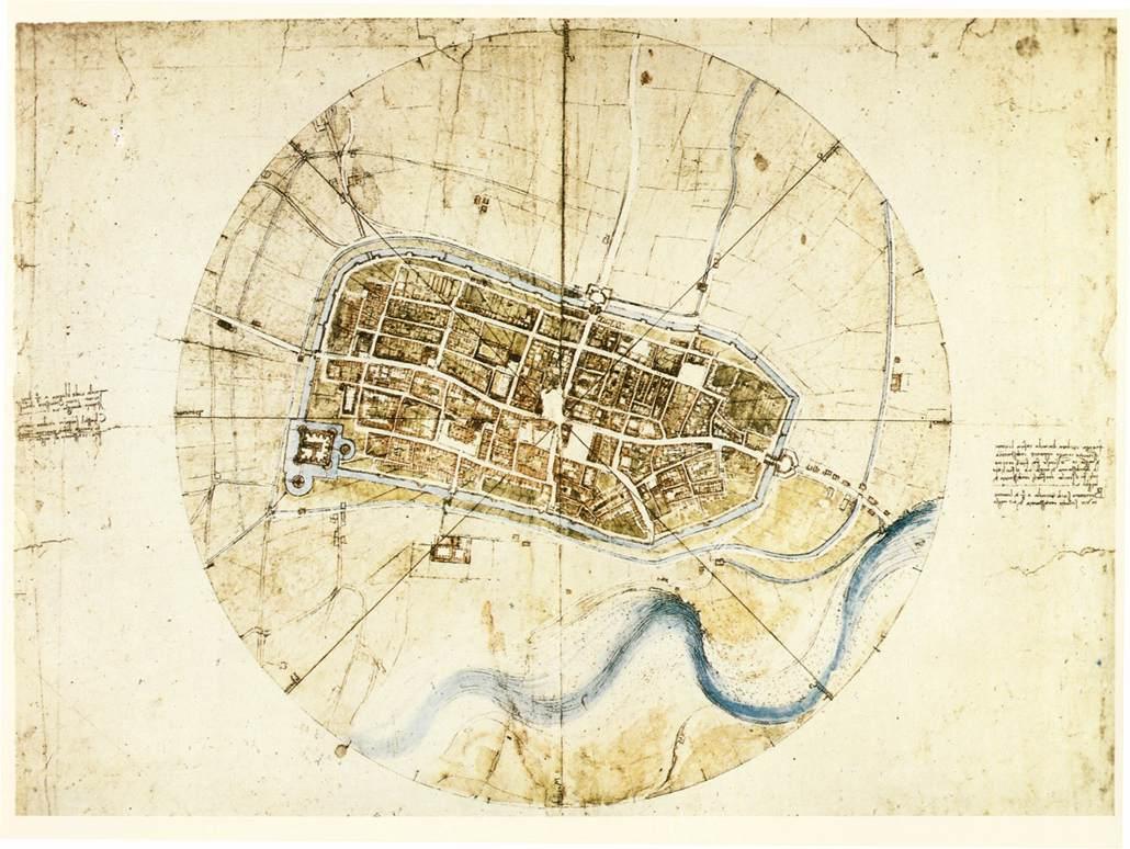 Leonardo da Vinci's town plan of Imola.